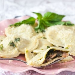 Prosciutto Mushroom Ravioli with Basil Brown Butter Sauce
