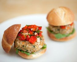 Quinoa Veggie Burgers with Red Pepper Relish