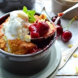 Rhubarb Cherry Cobbler Recipe