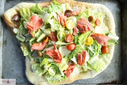Salmon Caesar Salad Pizza