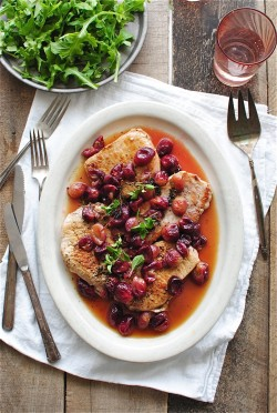 Seared Pork Chops with Roasted Grapes