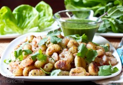 Shrimp and Gnocchi Lettuce Wraps with Spicy Mint Sauce