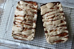 Spiced Pear Loaf Cake drizzled with Browned Butter Icing