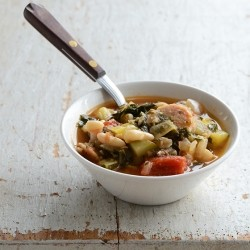 Vegetable Medley Stew with White Beans and Chicken Sausage