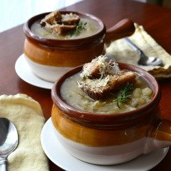 Vegetarian French Onion Soup with Whole Grain Dijon Gruyere Croutons