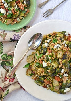 Warm Brussels Sprouts Salad with Bacon Blue Cheese and Kamut Recipe