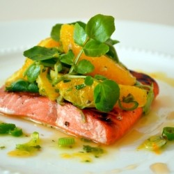 Agave Glazed Salmon with Orange Watercress Salad