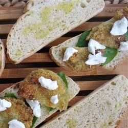 Fried Green Tomato Sandwich with Fresh Basil and Goat Cheese