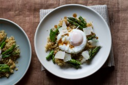Poached Egg with Quinoa Balsamic Brown Butter Roasted Asparagus