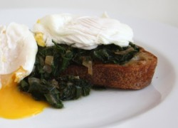 Poached Eggs with Sauteed Kale and Toast