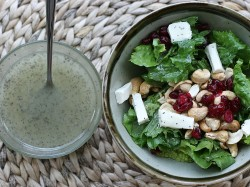 Poppy Seed Salad Dressing on Cashew Cream Cheese Salad