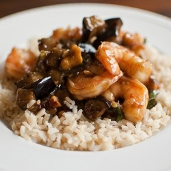 Shrimp Stir Fry with Eggplant Scallions and Shrimp
