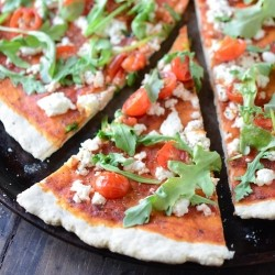 Tomato Arugula Goat Cheese Pizza