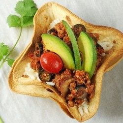 Tortilla Bowls with Beef and Rice