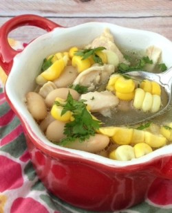 White Chicken Chili with Cilantro and Leeks