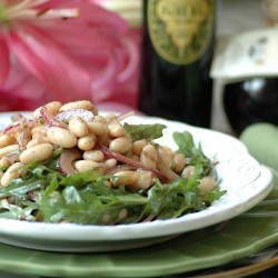 Arugula, Cannellini Bean and Red Onion Salad