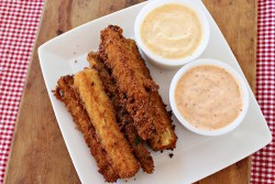 Beer Battered Zucchini with Chipotle and Parmesan Ranch Dips