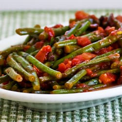 Braised Green Beans with Garlic Tomatoes and Capers