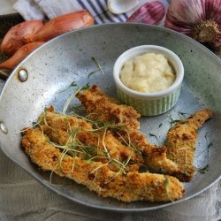Breaded Chicken with Cheese Sauce Recipe