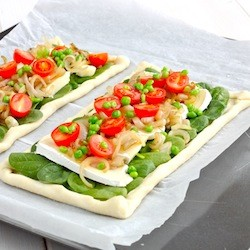 Brie Caramelized Shallots Puff Pastry Tart