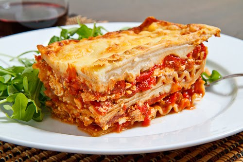 Chicken Roasted Red Pepper Goat Cheese Lasagna