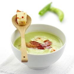 Fresh Pea Soup with Italian Cheese and Crispy Jam