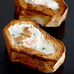Golden Toasted Coffin with Seafood Chowder