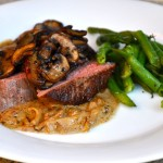 Grilled Sirloin with Onion Bleu Cheese Sauce and Baby Portabellas