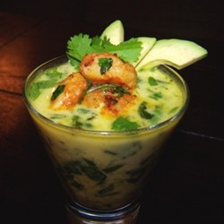 Margarets take on Spinach Soup with Shrimp and Avocado