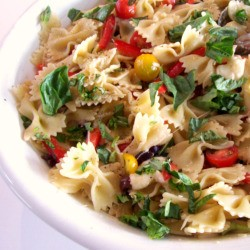 Pasta Provencal with Basil Sweet Peppers Tomatoes and Olives