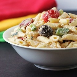 Pasta Salad with Tomatoes Feta Olives