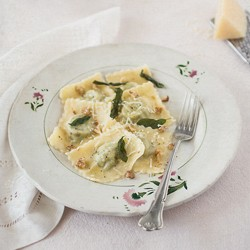 Pea Ravioli with Ricotta and Pecorino Romano in Sage Butter Sauce Recipe