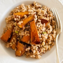 Pearl Barley Salad with Caramelized Balsamic Roast Pumpkin