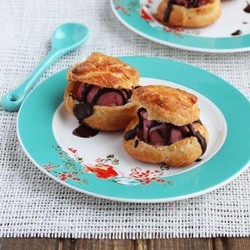 Profiteroles with Raspberry Sorbet and Chocolate Sauce Recipe