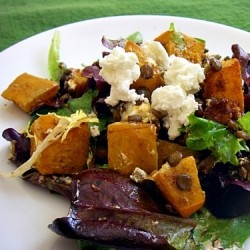 Pumpkin Lentil Goat Cheese Salad
