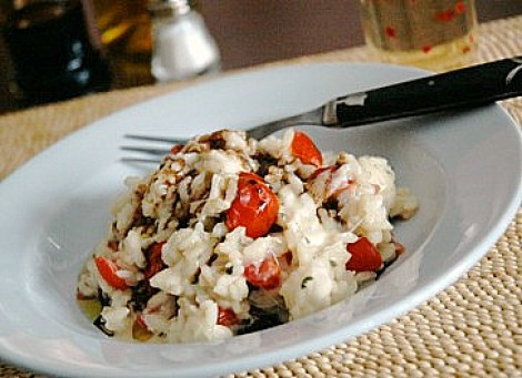 Risotto with Grape Tomatoes Mozzarella and Basil recipes ...