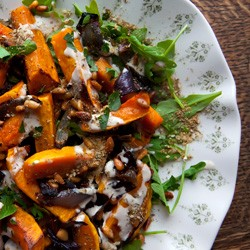 Roasted Butternut Squash Red Onion with Tahini Sauce