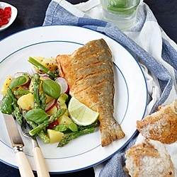Smoked Paprika Sea Bream and Asparagus Potato Salad