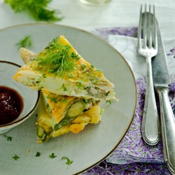 Spanish Tortilla with Asparagus and Fennel