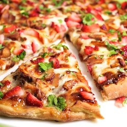 Strawberry Balsamic Pizza with Chicken and Bacon