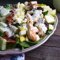 Surf and Turf Cobb Salad with Buttermilk Basil Dressing