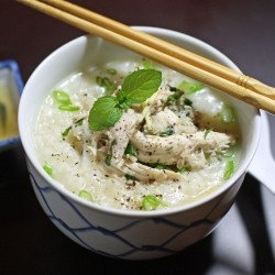 Vietnamese Porridge with Chicken and Mint Salad