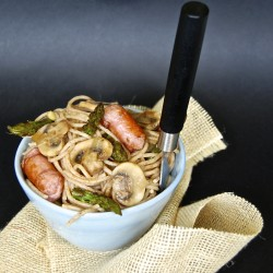 Whole Wheat Spaghetti with Asparagus Mushrooms and Sausage Recipe