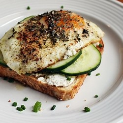 Whole Wheat Toast with Goat Cheese Chives Cucumber and Egg