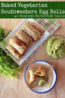 Baked Vegetarian Southwestern Egg Rolls with Avocado Buttermilk Sauce