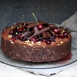 Balsamic Cherry Chocolate Mousse Cake