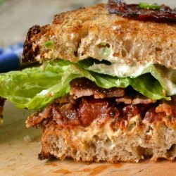 BLT with Candied Tomatoes Bacon and Jalapeno Cream Cheese Recipe