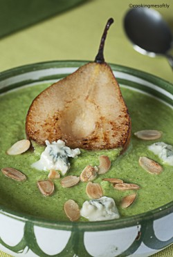 Broccoli Soup with Stilton and Pear