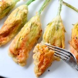 Cheese Stuffed Zucchini Blossoms Recipe