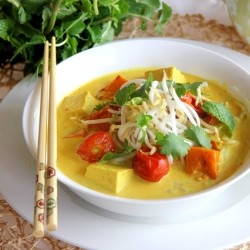 Cherry Tomato Pumpkin Thai Curry with Noodles